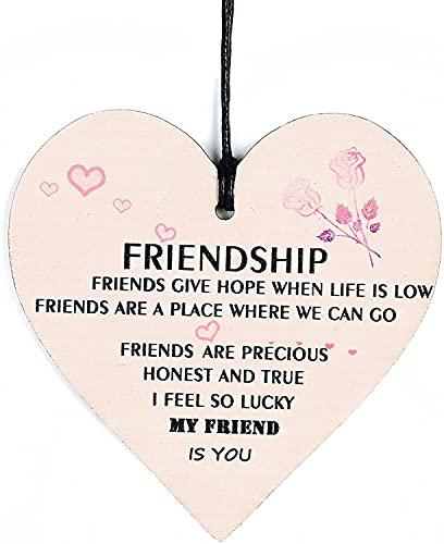 Pipihome Regalo de cumpleaños para mejor amiga para hombre, mujer, amistad, regalo personalizado único, placa de madera, placa colgante con forma de corazón (flor)