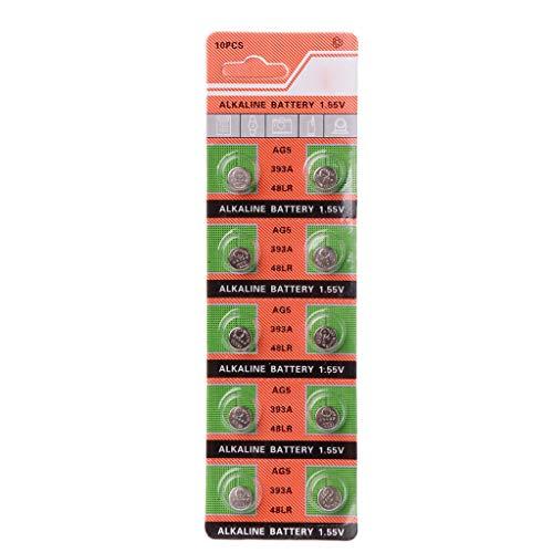 10 Stück Alkaline Batterie Knopfzelle AG5 LR754 393 SR754 193 546 RW28 48 Hörgeräte Kopfhörer Uhr Batterien