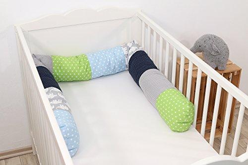 Baby Nestschlange | Made in EU | ÖkoTex 100 | Schadstoffgeprüft | Antiallergisch | Baby Bettumrandung | Bettschlange | Elefant Blau Grün | 200 x 13 cm | ULLENBOOM ®