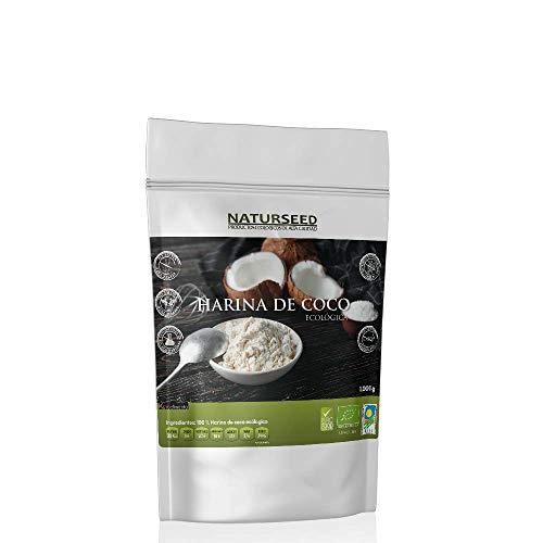 NATURSEED - Farine de Noix de Coco Biologique - Non raffinée - Non blanchie - Sans gluten - Sans fruits secs - Crue. Parfait pour le régime Paleo - Keto - Vegan. (1 kg)
