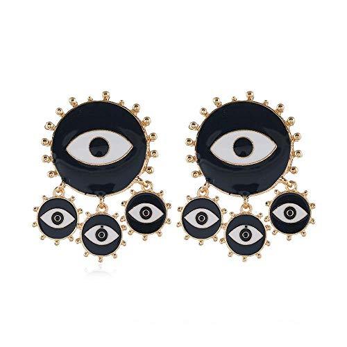 CEXTT Pendientes de Gota de la Borla de Metal Gold Color Alloy Turkish Eye Pendientes Pendientes para Mujeres Joyería