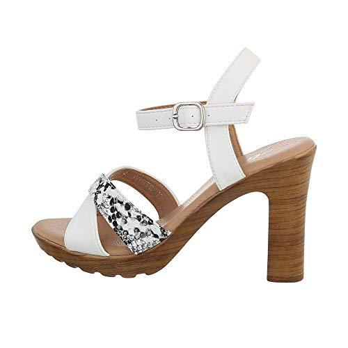 Ital Design Damenschuhe Sandalen & Sandaletten High-Heel Sandaletten, XO-2-, Kunstleder, Weiß, Gr. 39
