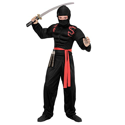 WIDMANN 00528?Disfraz para niños muskulöser Ninja, steelysports, pasamontañas, pantalones y cinturón, Negro , color/modelo surtido