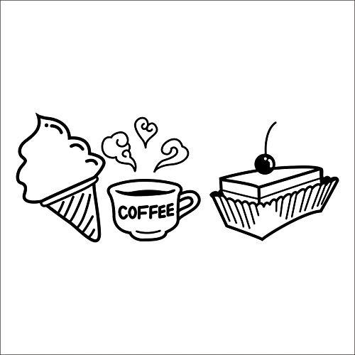 leche te cafetaria cafes helado pan Cake cocina arte de la pared de la etiqueta engomada DIY decoracion del hogar cafe 23 * 58CM