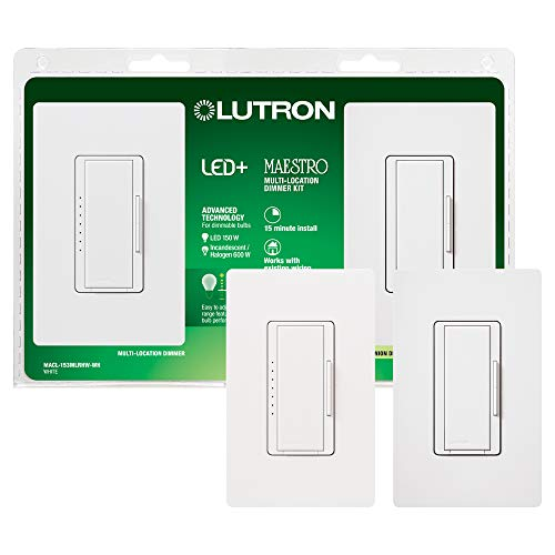 Lutron Maestro LED+ Digital Dimmer Kit for Dimmable LED, Halogen and Incandesent Bulbs | 150-Watt, Multi-Location | MACL-153M-RHW-WH | White