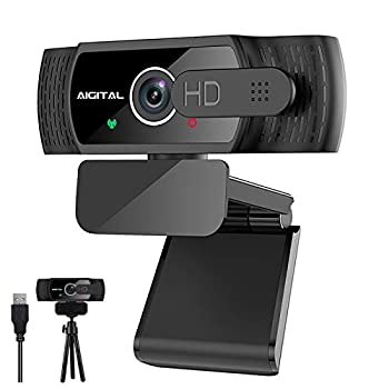USB Webcam for Desktop 1080p Computer Webcam with Dual Built-in Microphone Streaming Web Camera with Privacy Cover&Tripod Flexible Wide Angle Webcam for Video Calling/Conference/Recording