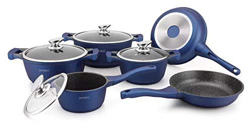 Royalty Line - Batería de cocina para todo tipo de fuegos, incluida inducción, color azul