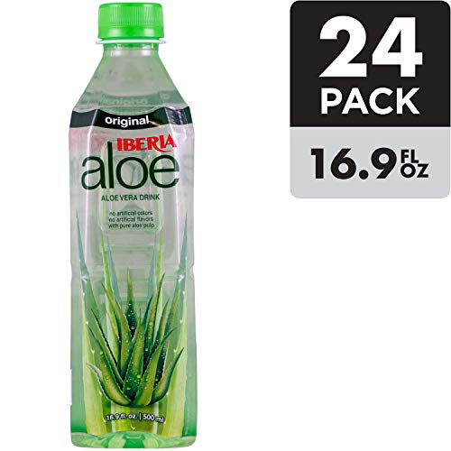 Iberia Aloe Vera Juice Drink , Original, 16.9 Fl Oz (Pack of 24) BPA Free Bottles with Pure Aloe Pulp, No Artificial Flavors Preservatives or Colors, Convenient Healthy Aloe Juice Drink