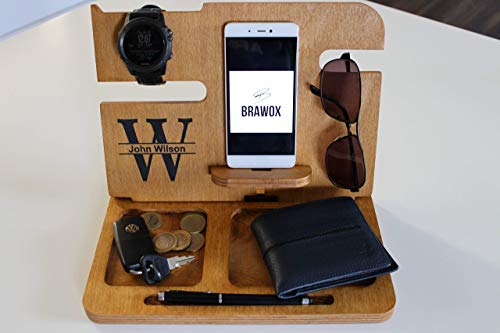 Wooden Docking Station Wood Docking Station Cell Phone Dock Charging Station Personalized Valet Mens Wood docking station gift for men