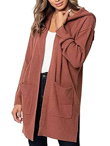 Cárdigan de punto de las mujeres otoño básico de manga larga de punto frente abierto suéter Cardigan de color sólido con capucha, naranja oscuro, L