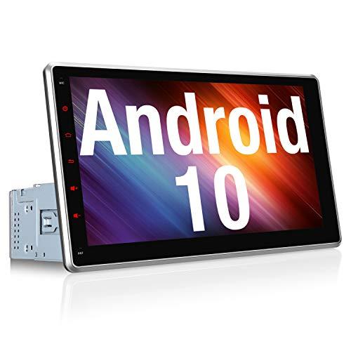 Vanku Android 10 Autoradio Radio mit Navi 10,1 Zoll IPS Touchscreen Unterstützt Bluetooth DAB + WiFi 4G USB 1 Din Universal