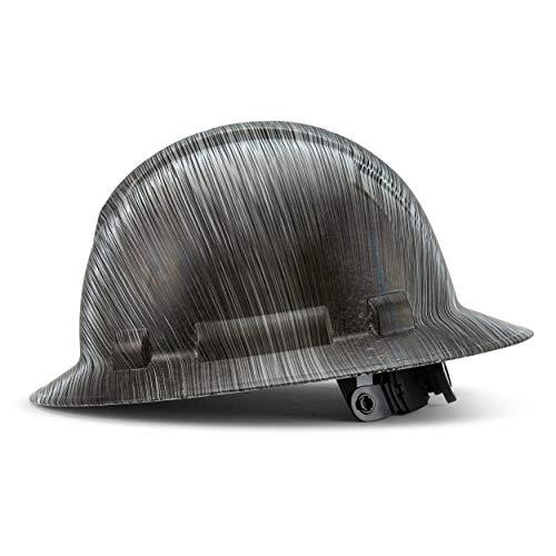 Full Brim Hard Hat Construction OSHA Hardhats, Men Women Safety Helmet, 6 Point, Custom Classic Metal Design, by Acerpal, Graphite Grooves