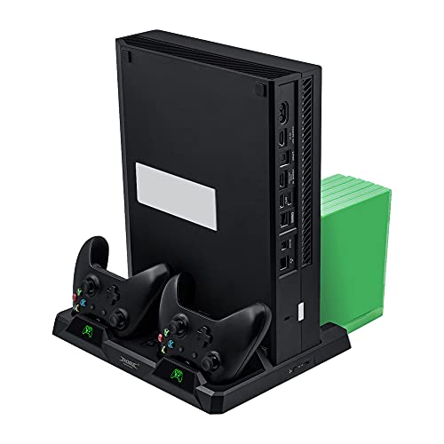 Mcbazel Soporte de Carga Vertical Xbox One con Base de Ventiladores de Enfriamiento & Ranura de Almacenamiento de Juegos para Xbox One/Xbox One S/X