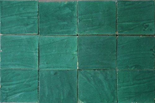 1m² große Zelliges Fliesen grün 20x20x2cm - Handarbeit Steinzeug Wandfliesen