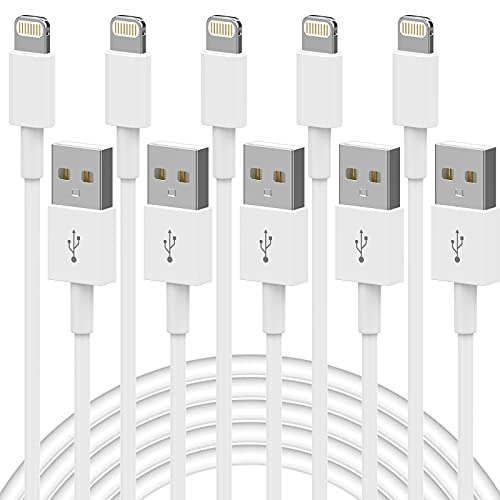 iPhone 充電ケーブル【5本セット 1.8M】ライトニングケーブル USB急速充電&同期 アイフォン充電ケーブル Lightning ケーブル iPhone/iPad/iPod各種対応 (ホワイト)