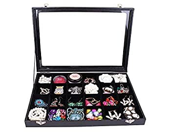TAPBULL Clear Lid 24 Grid Jewelry Box Case Organizer Showcase Stackable Display Jewelry Removable Black Velvet Locked  24 Grid Box Black