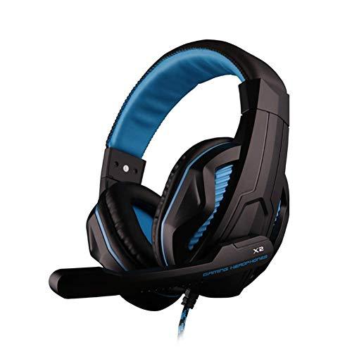 DBSCD Auriculares para Juegos Sonido estéreo Aislamiento de Ruido sobre Las Orejas, Auriculares con Cable de 3.5 mm para PC Xbox One PS4 Nnintedo Switch (Color: Azul)
