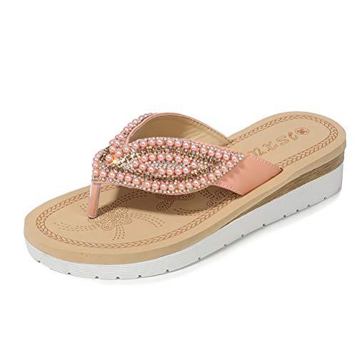 Damen Sommer Flip Flops Bohemian Sandalen Flach Zehentrenner mit Strass, Anti-Rutsch PU Slippers Pantoletten für Outdoor Strand Urlaub bathroon,Pink,37