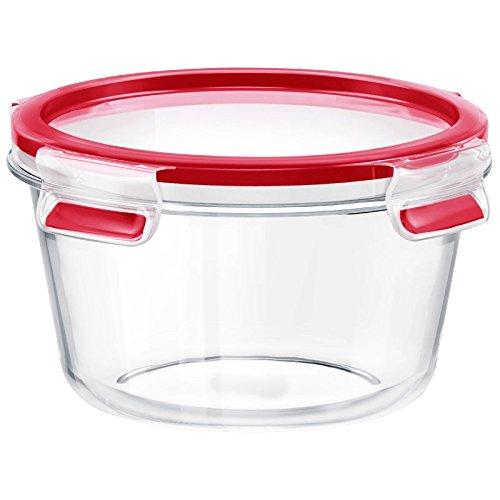 Emsa Runde Frischhaltedose (mit Deckel, Glas, 0,90 Liter, Clip und Close, 516243) transparent/rot