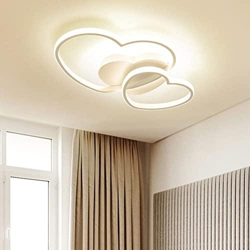 Lámpara LED de techo moderna para niñas, dormitorio, decoración en forma de corazón, lámpara de salón, lámpara de techo regulable con mando a distancia, para comedor, habitación de los niños, cocina
