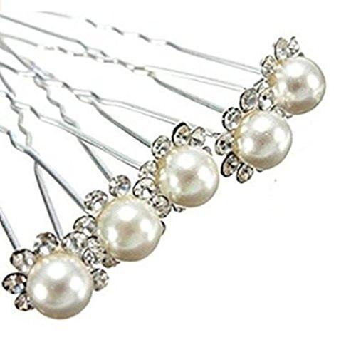 Accessoires cheveux coiffure mariage: 1 lot de 5 épingles à chignon perle beige à strass