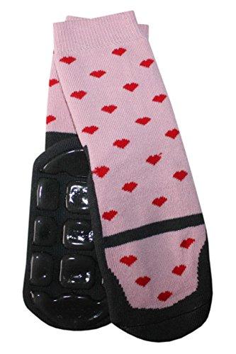 Weri Spezials Baby Voll-Frotee Voll-ABS Socken im feinen Tanzschuh-Dessign in Grau-Altrosa Gr.19-22 (12-24 Monate)