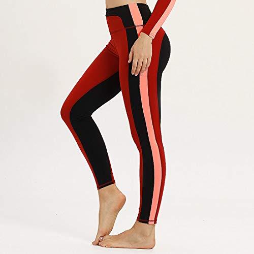 WANGLXST Moda Mallas Pantalones Deportivos Leggings Mujer, Leggings De Yoga para Mujer Medias De Compresión Pantalones De Running De Cintura Alta Clásicos Pantalones De Entrenamiento Elegante, Red, M