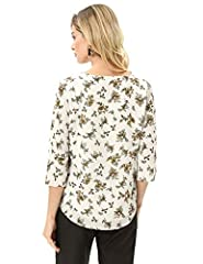 GRACE KARIN Women Chiffon Blouse Casual Batwing Blouse Round Neck Loose Top Floral B-Beige M #1