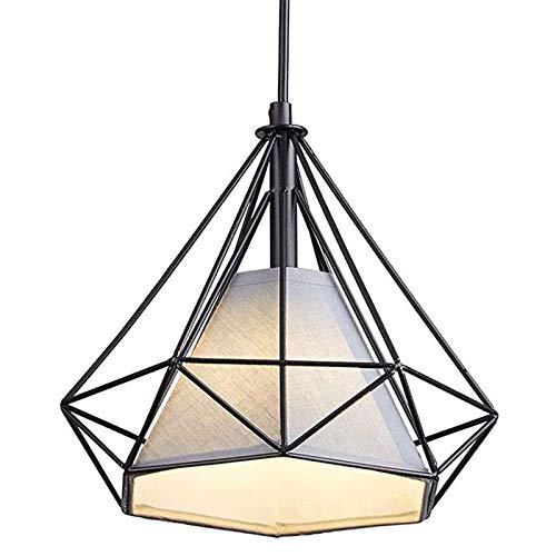 Lycoco Industrial Metal libremente Ajustable Alambre de Oro Rosa LED de la lámpara, Creativo con Tela Blanca Shade, Sala de Estar, Dormitorio, Cocina, Comedor Araña,Negro