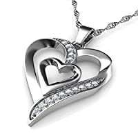 DEPHINI Doppel Herz Anhänger Halskette   Zirkonia   925 Sterling Silber Herz Halskette   Frauen Schmuck   Geschenke für Frauen