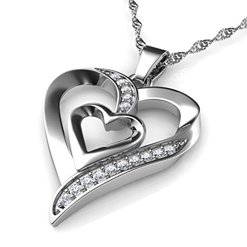 DEPHINI - Heart Necklace - 925 Sterling Silver - Double Love Heart Pendant with CZ Crystals - Fine Jewellery Woman Necklace - 18' Rhodium Plated Silver Chain - A Cubic Zirconia - Gifts for Women
