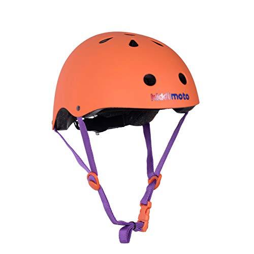 KIDDIMOTO Fahrrad Helm für Kinder - CE-Zertifizierung Fahrradhelm - Design Sport Helm für Skates, Roller, Scooter, laufrad - Matt Orange - M (53-58cm)