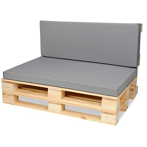 SuperKissen24 Palettenkissen Palettenauflagen Sitzkissen - 120x80 cm und Rückenlehne 120x40 cm - Outdoor und Indoor - grau