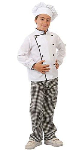 Guirca - Disfraz de cocinero con traje y gorro, para niños de 10-12 años, color blanco y negro (81583)