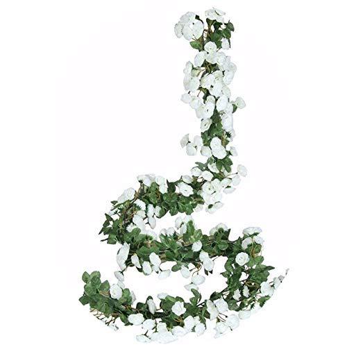 WFGT - Juego de 5 rosas falsas de 2,5 m, para colgar en casa, hotel, boda, fiesta, jardín, decoración