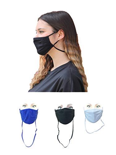 Body&Co Pack 3 Stück, Sommergesichtsschutzband mit verstellbarem Riemen und FALL ARRESTER, Farben BLACK WHITE BLUETTE, ideal für Sommer- und Outdoor-Sportarten