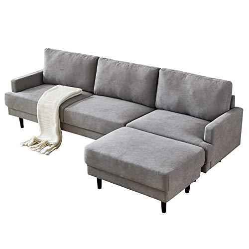 Ecksofa Eckcouch L-Sofa Wohnzimmercouch Sofa Couch Wohnzimmersofa Schlafsofa mit großen Rücken-Kissen Polstersofa mit Longchair im modernen Look (Grau)