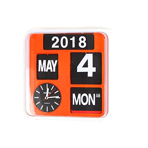 homeloo Fartech Retro Modern 9.5 Inches Calendar Auto Flip Desk Wall Clock (Orange)