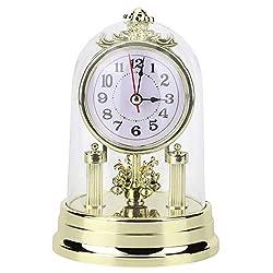 Table Clock, Antique Clock, European Retro Style Living Room Clock Antique Silent Table Clock Home Decor, Gold, 4.3 x 6.7 in (Gold)