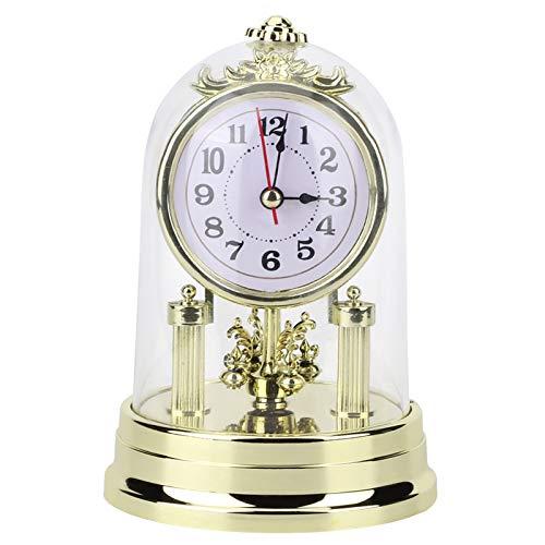Reloj de mesa vintage, reloj de escritorio artístico de estilo retro europeo de 11x17cm,resistente/ligero y duradero,reloj despertador de mesa,pero una hermosa decoración para la habitación(Golden)