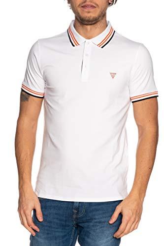 Guess Polo de Manga Corta para Hombre Camiseta Blanca M1RP66J1311-TWHT