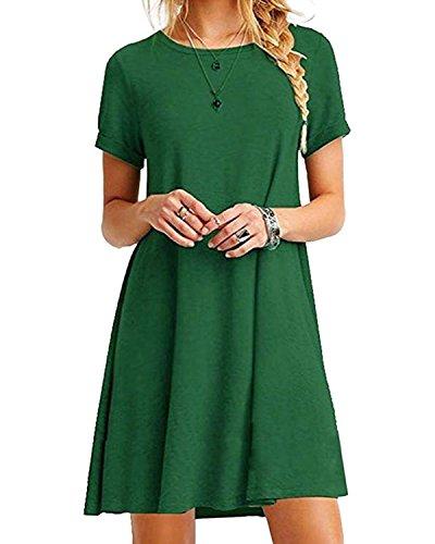 YOINS Sommerkleid Damen Tunika Tshirt Kleid Bluse Kurzarm MiniKleid Boho Maxikleid Rundhals ,Grün,UK 6-8, CN S