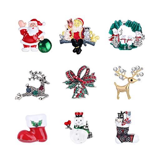 Toyvian Strass Kristall Weihnachtsbrosche Weihnachten Brosche Stifte Schneeflocke Santa Schneemann Rentier Stiefel Glocke Kranz Broschen Weihnachten Urlaub Party Liefert Geschenke 9St