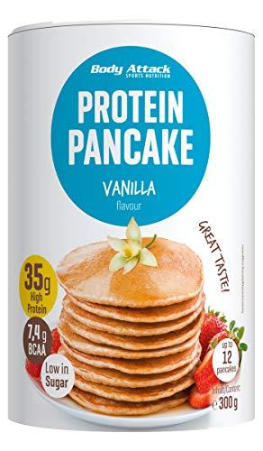 Body Attack Protein Pancake Mix, Eiweißpulver für Pfannkuchen mit 35% Protein, schnell und leicht abnehmen mit der Low Sugar Backmischung (Vanilla, 1 x 300g)