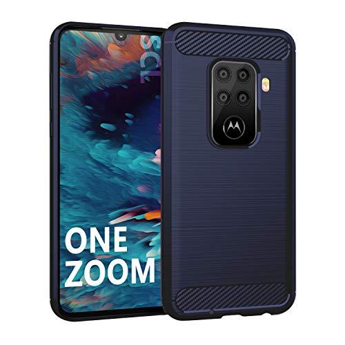 SCL Hülle Für Motorola One Zoom Hülle Moto One Zoom Handyhülle Exquisite Serie-Carbon Design Schutzhülle mit Anti-Kratzer & Anti-Stoß Absorbtion Technologie [Blau]