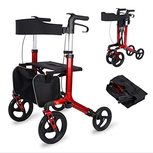 Huaaag Andador Plegable Ultra Ligero para Andar, Andador Plegable con Andar, Porta Bastones y Frenos de Bloqueo, con Asiento y Bolsa