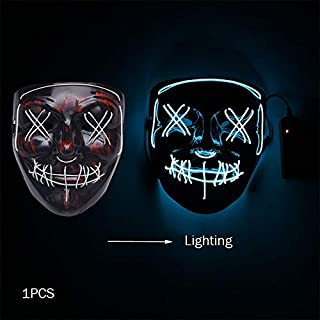 Best Design Halloween Horror Mask Led Glow In The Dark Costume Kids Spooky Carnival, S Halloween Mask - Halloween Hockey Mask, Glow Mask, Party Mask, Halloween Mask, Horror Dome Mask