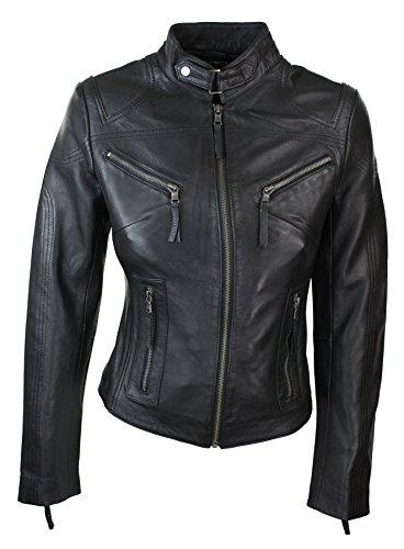 Infinity Damenjacke 100% Echtleder Schwarz Biker Stil