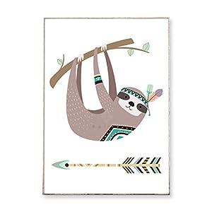 DIN A4 Kunstdruck Poster KLEINES FAULTIER -ungerahmt- Tier, Dschungel, Bild, Kinderzimmer, boho