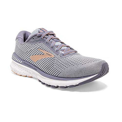 Brooks Womens Adrenaline GTS 20 Running Shoe - Grey/Pale Peach/White - B - 8.5
